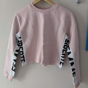 Topshop cropped sweater pink and white